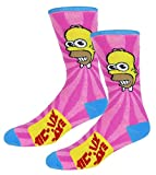 The Simpsons Homer Casual Crew Socks Light Pink/Blue