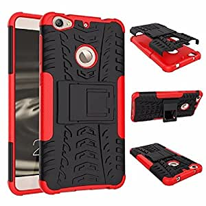PES Hybrid Military Grade Armor Kick Stand Back Cover for LeTV Le 1s / LeEco Le 1s Eco - Hot Red