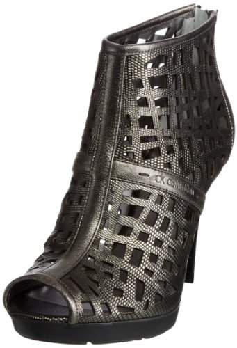 Calvin Klein Women's Karla Mettalic Lizard Pewter Open Toe N10403 6 UK, 39 EU