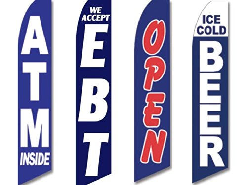 4 Swooper Flags Store Bodega Corner Convenience ATM Inside EBT Beer Open Blue (Convenience Store compare prices)