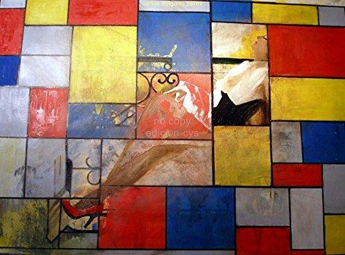 Carlos Delgado Peres Mujer y Mondrian size 76x56cmt.prees 61x47cmt Ed.100 Moder Lithografic waterm