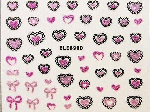 3Dネイルシール どきどきハート ピンク&ベビーピンク