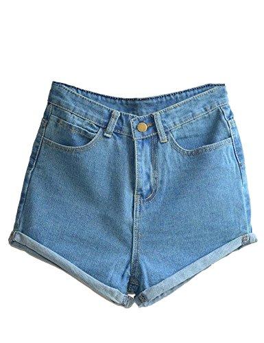 Haola Women's Juniors Vintage Denim High Waisted Folded Hem Jeans Shorts Light Blue M (Vintage High Waisted Jean Shorts compare prices)