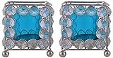 Zayn D Crystal Votive Candle Holder (7.5 cm x 7.5 cm x 16 cm, Blue)