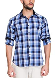 Zovi Cotton Slim Fit Casual White and Blue Checkered Shirt with Roll-ups(11895200801_Medium)