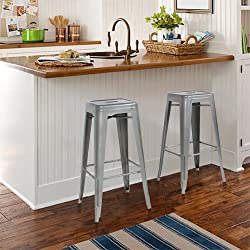 "Best Choice Products Home Set of 2 Modern Industrial Metal Bar Stools 30"" Seat Height- Silver"