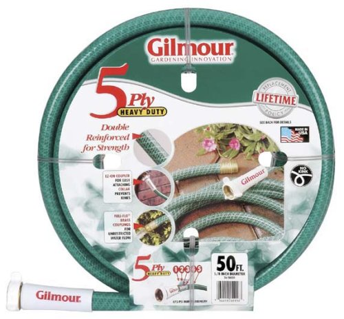 Gilmour 26 Series 5 Ply All Seasons Double Reinforced Vinyl Hose 5/8 Inch x 25 Feet 26-58025 Green