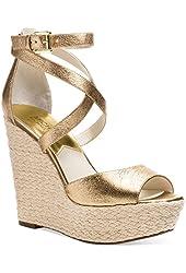 MICHAEL Michael Kors Womens Gold Gabriella Leather Platform Wedge Sandals