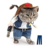 Mikayoo Christmas costumes,The Cowboy for Party Christmas Special Events Costume,West CowBoy Uniform with Hat,Funny Pet Cowboy Outfit Clothing for dog cat(M)