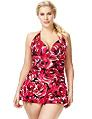 Plus Halterneck Ruched Floral Skirt Swimsuit