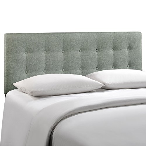 Modway Emily Full Upholstered Linen Headboard in Gray (Full Bed With Tufted Headboard compare prices)