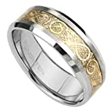 Bling Jewelry Tungsten Carbide 8 Mm Comfort Fit Flat Wedding Band Ring Celtic Dragon Gold Inlay