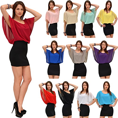 Damen Bluse Chiffon Tunika Minikleid 2 in 1 Oberteil in 15 Farben