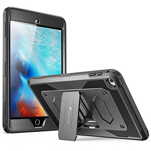 iPad Mini 4 Case, [Heave Duty] i-Blason Apple iPad Mini 4 2015 Armorbox [Dual Layer] Hybrid Full-body Protective Kickstand Case with Front Cover and Built-in Screen Protector / Bumpers (Black)
