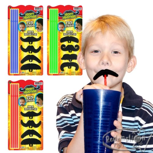 Mighty Mustache Fin Straws Assorted-Choices may vary by JaRu - 1