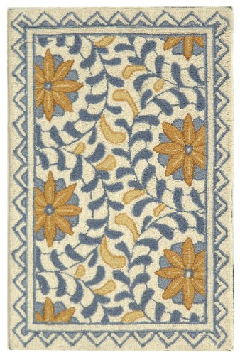 "1'8"" x 2'6"" Rectangular Safavieh HK150A-2 Ivory/Blue Color Hand Hooked Chinese ""Chelsea Collection"" Rug"