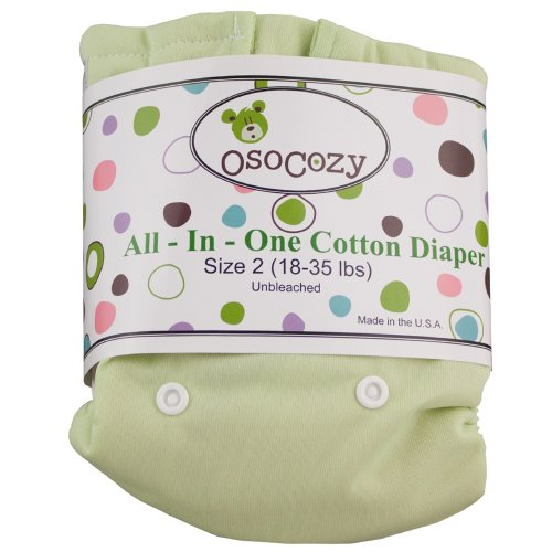 Osocozy All In One Cloth Diaper - Unbleached - Snap - Green - Size 2 front-59518