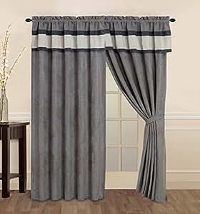 4 Piece Micro Suede Charcoal Grey Light Grey Striped Curtain Drape Set