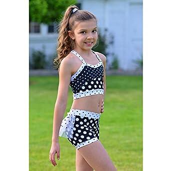 Amazon com lexi luu big girls black white polka dot mia crop top