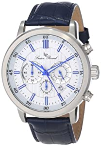 Lucien Piccard Men's 12011-023S-BL Monte Viso Chronograph White Textured Dial Dark Blue Leather Watch from Lucien Piccard