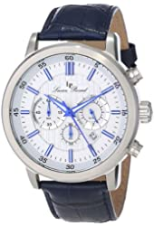 Lucien Piccard Men's 12011-023S-BL Monte Viso Chronograph White Textured Dial Dark Blue Leather Watch