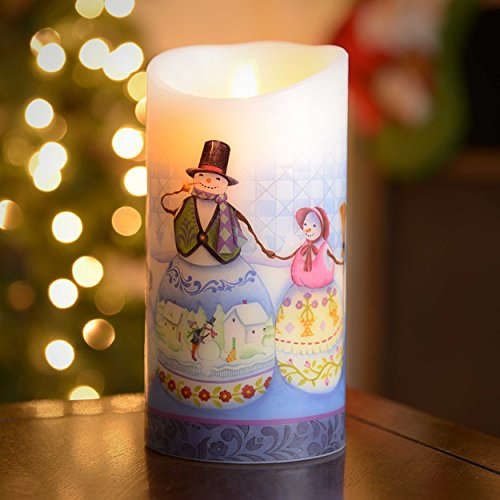 """Luminara 09909 - 3.5"""" X 7"""" Jim Shore Snowman (Unscented) Wavy Edge Realistic Flame Led Wax Candle Light With Timer"""