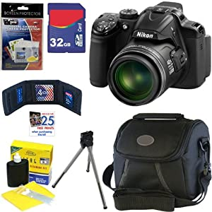 "Nikon COOLPIX P520 18.1 MP CMOS Digital Camera with 42x Zoom and ""GPS"" (Black) + 6pc Bundle 32GB Accessory Kit"