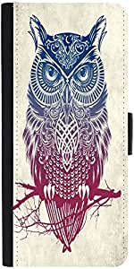 Snoogg Owl Paint Graphic Snap On Hard Back Leather + Pc Flip Cover Apple Ipho...