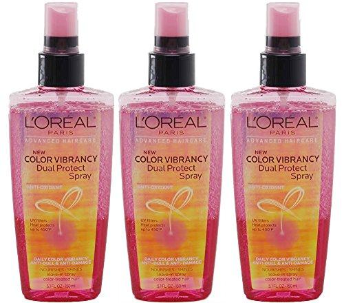L'Oreal Paris Anti-Oxidant Dual Protect Color Vibrancy Hair Spray, 5.1 Ounces (Pack Of 3)