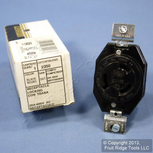 Leviton 2350 20-Amp, 600-Volt, Flush Mounting Locking Receptacle, Industrial Grade, Grounding, V-0-MAX, Black