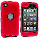 Red Deluxe Hybrid Premium Rugged Hard Soft Case Skin Cover for iPod Touch 4th Generation 4G 4