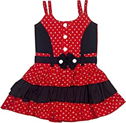 Retaaz Girls' Frock (Rkgf47, Red and Black, 2-3 Years)