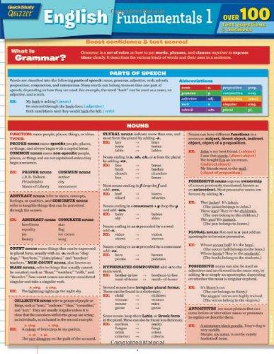 English Fundamentals 1 Quizzer (Quick Study: Quizzer)