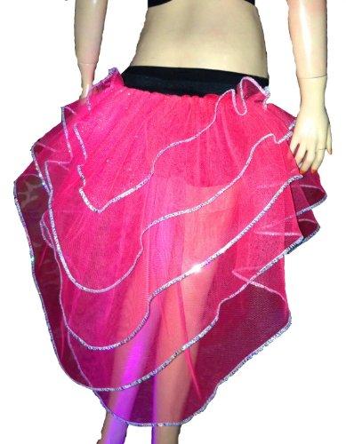 Hot Pink Silver Sequins Glitter Dot Layer Tutu Skirt Peacock Halloween
