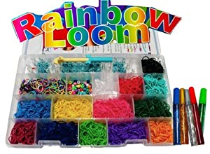 Rainbow Loom Complete Starter Kit/Case INCLUDES LOOM AND HOOK, Over 3600 Bands, Plus 100 C Clips, And More from Loom