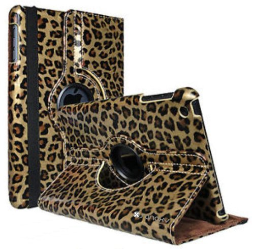 Sanoxy® 360-Degree Swivel Leather Case Compatible With Apple Ipad 2/3/4 Animal Print Leopard Bronze