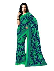 Blue Green Color Georgette Printed Saree With Blouse 7039