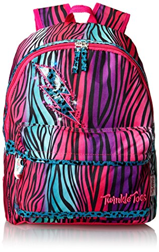 Skechers Big Girls' Zebra Wild Backpack, Pink Multi, One Size front-844779
