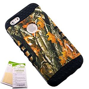 For Apple iPhone 6 6s (4.7) 3 Piece Bundle - Hunter Tree Leaves Camo Camouflage Snap-on on Black Skin KoolKase Rocker 2 in 1 Hybrid Case Cover With 2 Screen Protector Films