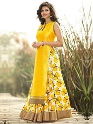 Awesome Fab Yellow Colour Bangalori Silk Printed Semi-stitched Lehenga Choli