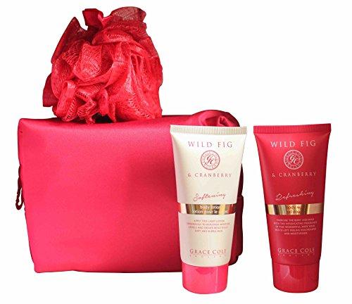Grace Cole Wild Fig & Cranberry 4-pc : 100ml Body Wash / Lotion + Puff + sacchetto della borsa