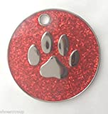 Personalised DOG CAT PAW PRINT Red Glitter Identity ID Tag Engraved, please message Emblems Gifts Ltd direct with the details