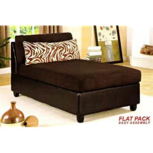 Armless microfiber seat chaise lounge chair with pillow in for Brown microfiber chaise lounge