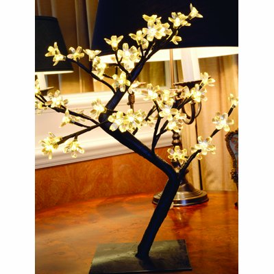 WHITE 48 LED Christmas Berry Tree 45cm Decoration