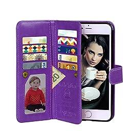 iPhone 6 Plus Case, VofoleDetachable iPhone 6S Plus Wallet Case Folio Flip PU Leather Protective Shell Magnetic Slim Cover Card Holder Wrist Strap foriPhone 6+ 6S Plus 5.5 inch -Purple