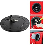 Non fading Black Fastness Gas Cap Fuel Filler Door Cover Moonet Powder Coated Steel Gas Fuel Tank Gas Cap Cover Accessories for 2007-2017 Jeep Wrangler JK & Unlimited Sport Rubicon Sahara with Lock