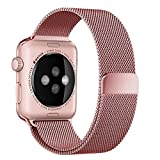 top4cus 38mm Milanese Double Electroplating Fully Magnetic Closure Clasp Mesh Loop Stainless Steel iWatch Band Replacement Bracelet Strap for Apple Watch Band All Model 38mm Series 1 and 2 - Rose Gold