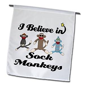 3dRose fl_105557_1 I Believe in Sock Monkeys Garden Flag, 12 by 18-Inch