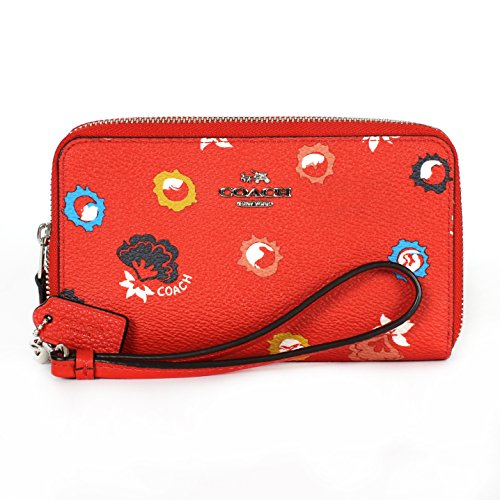 Coach 53966 Double Zip Phone Wallet in Wild Prairie Print Coated Canvas
