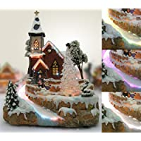 Christmas Snow Village Fiber Optic Church Chapel Winter Collectible Ships Freight Free!